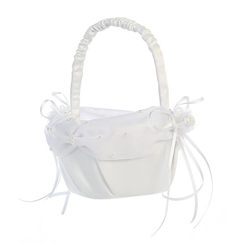 Lito White Pearled Organza Trim Satin Flower Girl Basket -