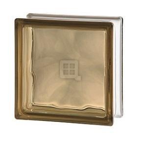 Brown Brick Block - Seves Glass Block 7.5 x 7.5 x 3 Basic Wave Brown Color Glass Block