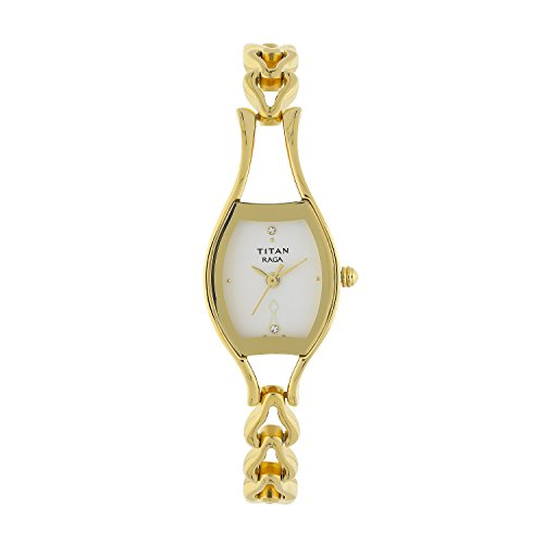 Titan Raga Women's Bracelet Watch - Quartz, Water Resistant - Gold Band and Silver Dial (Best Titan Watches In India)