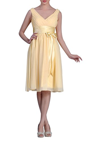 Natrual Straps Chiffon Cocktail Knee Length A-Line Short Bridesmaid Dress, Color Canary,16W Knee Length Silk Bridesmaid Dress