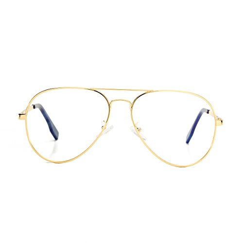 AZORB Aviator Non-prescription Clear Lens Eyeglasses Classic Retro Metal Frame (Gold, - Aviator Eyeglasses Frames