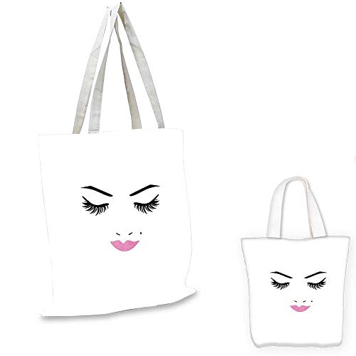 Eyelash fashion shopping tote bag Closed Eyes Pink Lipstick Glamor Makeup Cosmetics Beauty Feminine Design canvas beach bag Fuchsia Black White. 12