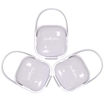 purifyou PurePouch BPA-Free Nipple Shield Case & Pacifier Case Holder, Set of 3, with Free Mesh Sack (Set of 3, Clear)