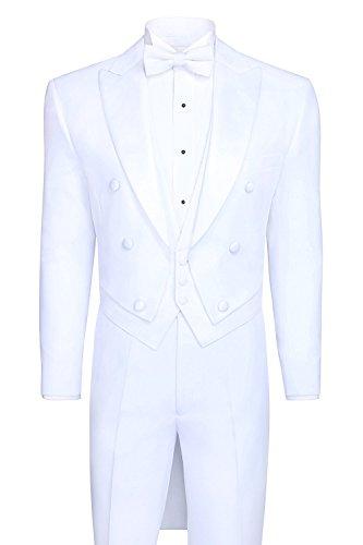 White Tailcoat Tuxedo & Tuxedo Pants - 36 Regular (White Long Tail Tuxedo)