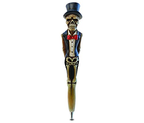 Puzzled Planet Pens Resin Groom Skeleton, 7 Inch Premium Ink Ballpoint Pen Unique & Comfortable Hand Painted Novelty Educational Writing Items Halloween Bones & Skull Themed School & Office Supplies