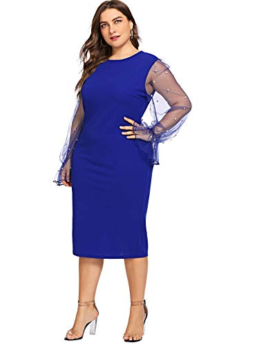 SheIn Women's Plus Size Elegant Mesh Contrast Pearl Beading Sleeve Stretchy Bodycon Pencil Dress Blue 1X-Large