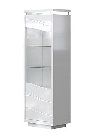 Vitrine Patamea 01, Farbe: Weiß Hochglanz   185 X 65 X 40 Cm (