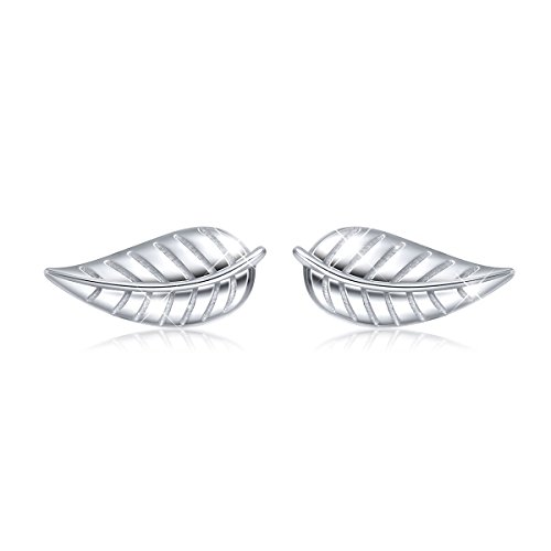 S925 Sterling Silver Olive Leaf Stud Earrings Hypoallergenic (Leaf Earrings Studs)