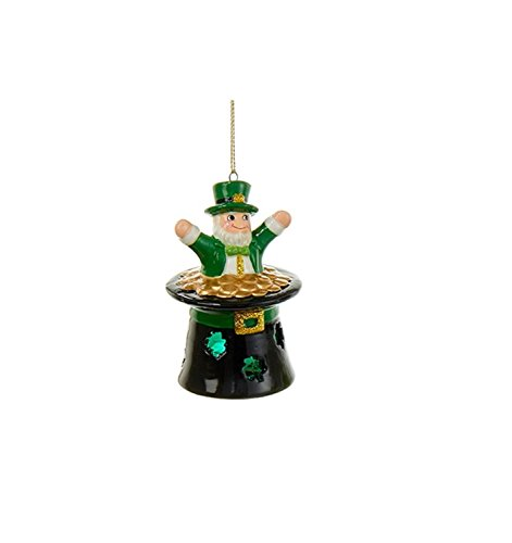 "3.5"" Luck of the Irish Leprechaun in a Top Hat Christmas Ornament"
