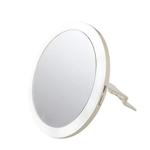 FYCZ Makeup Mirror, with LED Light Charging Round Portable Handle Adjustable Angle -