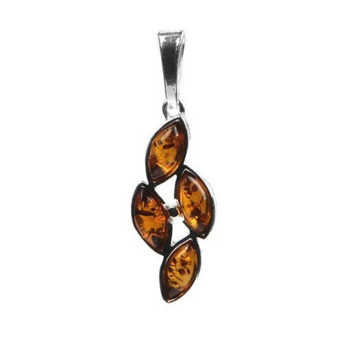 Honey Amber Sterling Silver Leafs Pendant