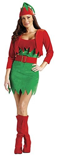 Fun World Costumes Women's Elfalicious (Sexy Elf) Adult Costume, Red/Green, (Sexy Elf Adult Costumes)