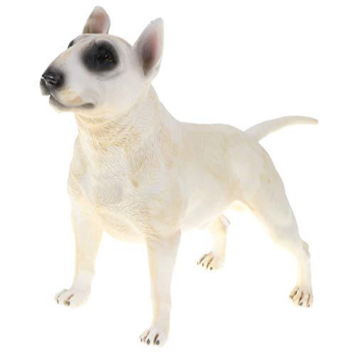 B Blesiya Realistic Bull Terrier Figure Dog Pet Animals Model Toys Wild Forest/ Farm/ Ocean Action Statues Models Kids Educational Toy Home Decor - White