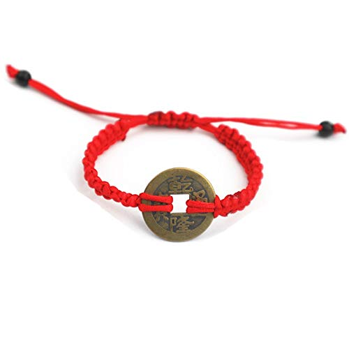 Coin Chinese Bracelet (Muzuri's Feng Shui Adjustable Red String Bracelet with Chinese Coin for Good Luck and Prosperity+ Free Lucky Red String Bracelet)