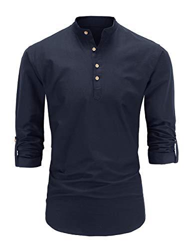 Dioufond Men's Long Sleeve Banded Collar Oxford Dress Shirt (XXL, NavyS004)