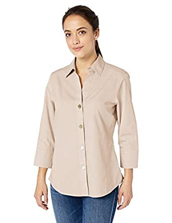 Foxcroft Women's Non-Iron Essential Paigely Shirt, Driftwood, 6