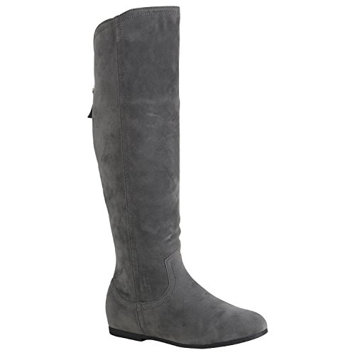 Stiefelparadies Damen Keilstiefel Leicht Gefütterte Plateau Stiefel Wedges Quasten Flandell Grau Zipper