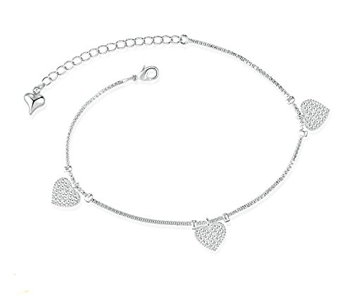 Bishilin Foot Anklet Jewelry Heart Shape anklet diamond 1 CM by Bishilin
