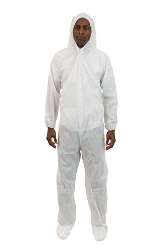 Attached Hood Boots - International Enviorugard - Lightweight 3 Layer SMS General Protective Coverall for General Cleanup (White) Attached Hood & Boot and Elastic Wrist, M, (25 per case)