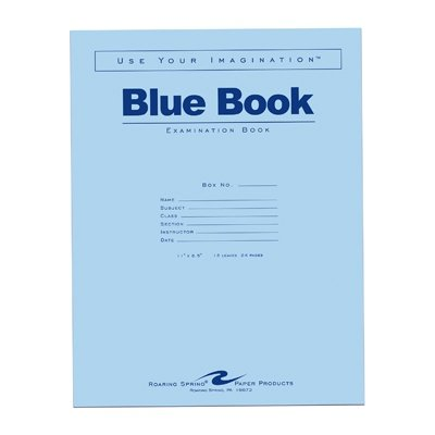 Roaring Spring Blue Exam Book, 11'' x 8.5'', 12 sheets/24 pages