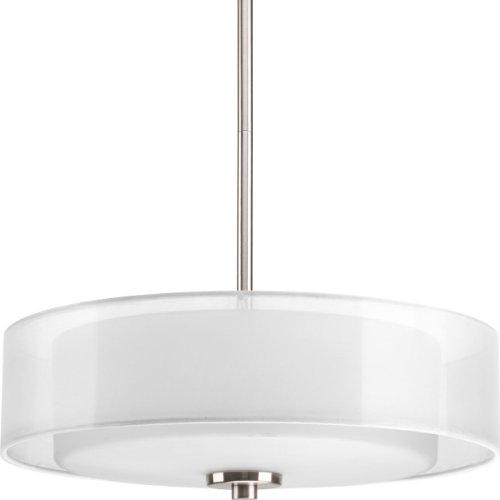 (Progress Lighting P3694-09 Invite 3-Lt. Semi-Flush Convertible with White silk mylar shade)