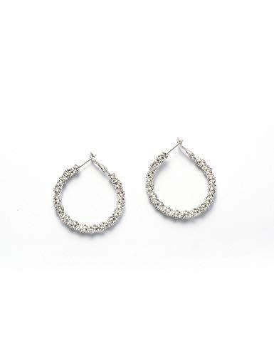 Lantitude Shining Hoop Earrings Multilayer Granule Prill Dancing Party White 18K Gold Plated Luxurious Delicate Fancy Date Ball Dance Lightweight Fashion Jewelry for women ()