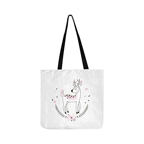 Cute Bambi Kid Doodle Canvas Tote Handbag Shoulder Bag Crossbody Bags Purses For Men And Women Shopping Tote