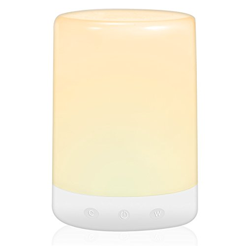 LOHAS Smart Sensor Table Lamp, Touch Sensor LED Night Light, Color Changing Multicolored, USB Rechargeable, Small Bedroom Bedside Lights Bulb Dimmable