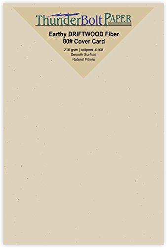 150 Earthy Driftwood Fiber Paper Sheets - 80# Cardstock - 4