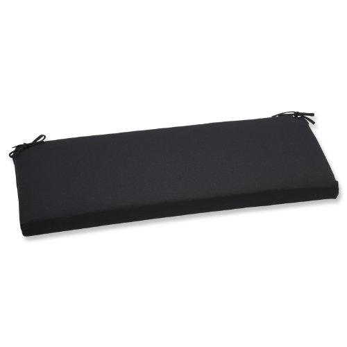 Pillow Perfect Indoor/Outdoor Bench Cushion with Sunbrella Canvas Black Fabric, 45 in. L X 18 in. W X 2.5 in. -