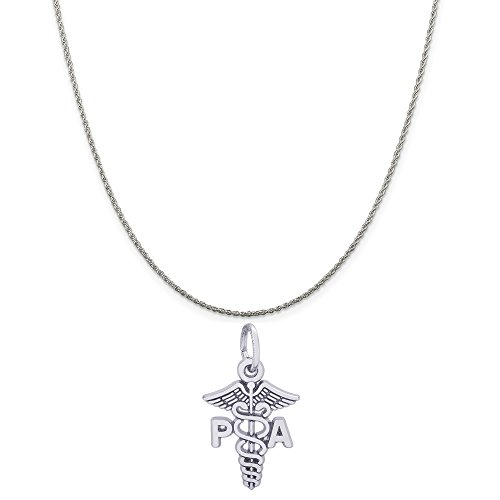 (Rembrandt Charms 14K White Gold PA Caduceus Charm on a 14K White Gold Rope Chain Necklace, 20