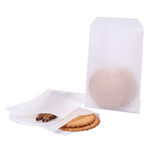 Flat Glassine Waxed Paper Treat Bags 4x6 Semi-Transparent for Bakery Cookies Candies Dessert Chocolate Party Favor, Pack of 100 by Quotidian (4 x 6)