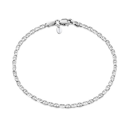 Amberta 925 Sterling Silver 1.7 mm Anchor Marine Chain Bracelet Length 7