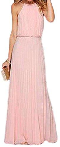 Women Party s Cromoncent Cold Pink Sleeveless Maxi Chiffon Shoulder Dresses dxUxpwfqR
