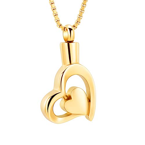 mingkejw Urn Necklace Infinity Heart Cremation Jewelry for Ashes Pendant Keepsake Memorial Locket Human Pet Holder (Gold) (Jewelry Made From Ashes Of Loved Ones)