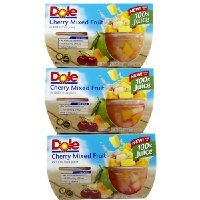 Dole Cherry Mixed Fruit In Light Syrup, 4 oz, 3 pk