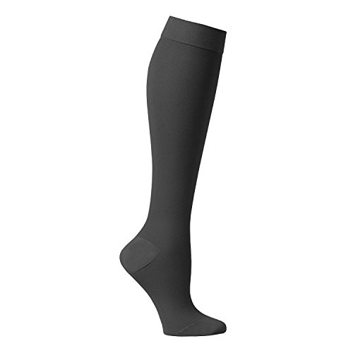 Support Plus Women's Firm Compression Hose – Opaque Knee High, Petite Stockings – Black – XL
