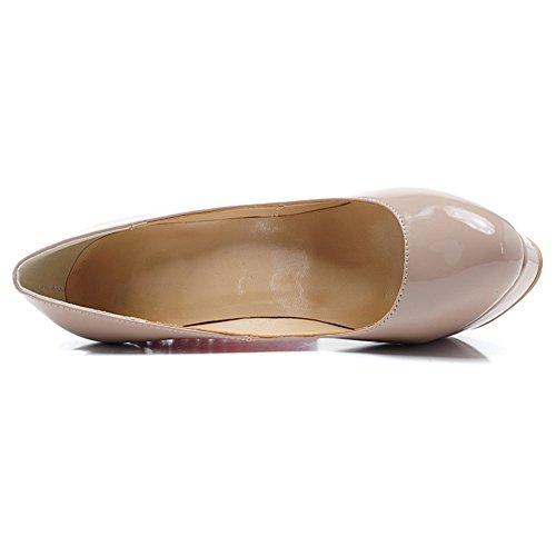 Damen Pumps Peep Toe Lackleder High-Heels Stiletto Plateau mit Nieten Beige
