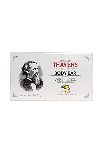 Thayers - Jabón de barra del cuerpo con la fruta cítrica de Vera de la avellana y del áloe de la bruja - 5 oz.