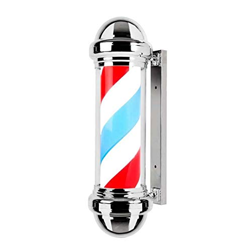 KMDB Lighting Led Barber Pole Light, Hair Salon Hairdressing Sign Outdoor Retro Barbershop Pole Illuminating Rotating Red White Blue Stripes Wall-Mounted Lamp Waterproof Lighting