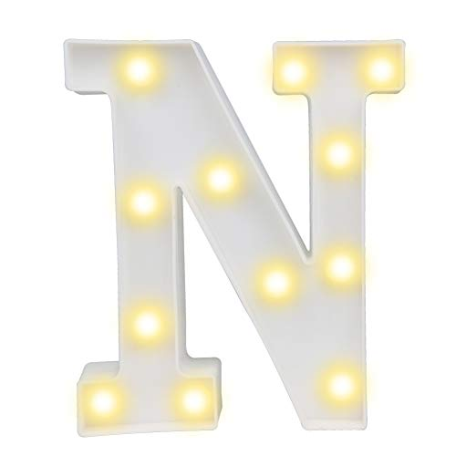 Pooqla LED Marquee Letter Lights Alphabet Light Up Sign for Wedding Home Party Bar Decoration N ()
