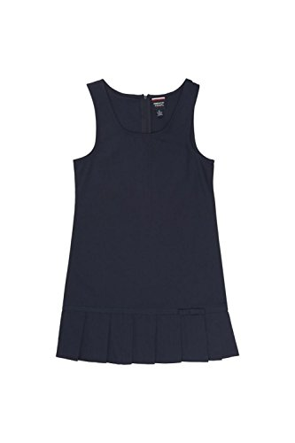 French Toast Big Girls' Pleated Hem Jumper with Ribbon, Navy, 8 School Uniform Jumper Dress
