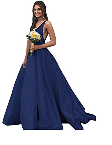 - Rjer Women Long Double V Neck Sleeveless Prom Dress 2019 Satin Ball Gown Navy Blue