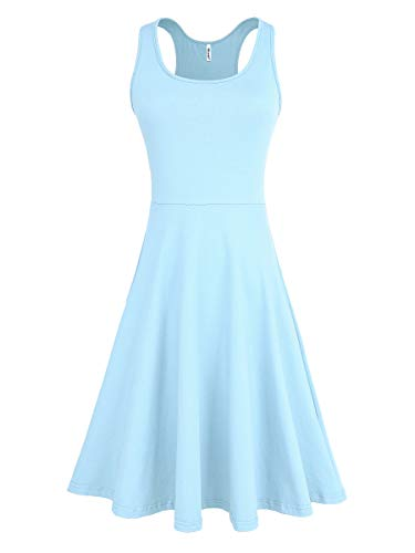 - Missufe Women's Summer Casual Sleeveless Racerback Knee Length Tank Skater Dress (Light Blue, X-Small)