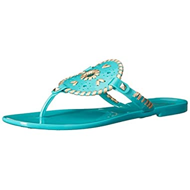 Jack Rogers Women's Georgica Jelly Flip Flop, Caribbean Blue/Gold, 10 M US
