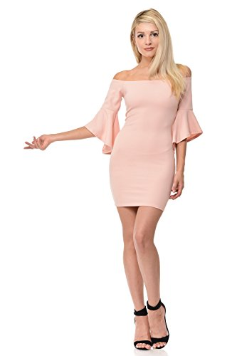 Embellished Medium Sleeve (Made in USA - Women's Embellished Bell Sleeve Bodycon Dress, Crepe Fabric (M, Blush))