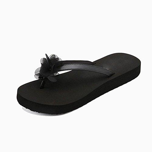 Usura Pantofole Estate antiscivolo Pantofole sandali spiaggia Antiscivolo rosa esterna Sandali Scarpe Clip Clip Slip fiore nero FEI da Donna coreana Femminile Fiori dei spessa Nero Versione bottom Tfq5n5pw