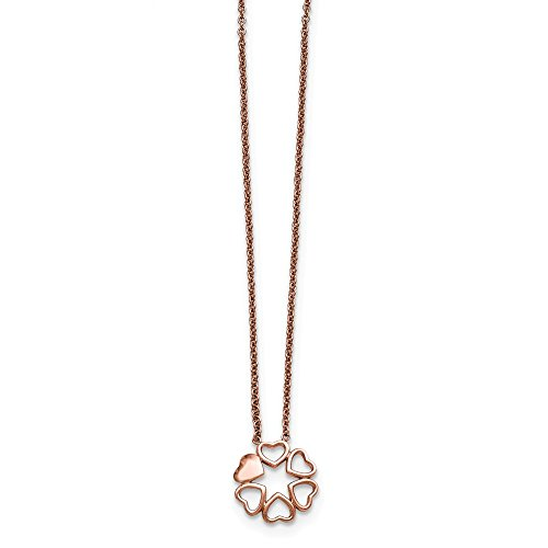 Chisel Women's Stainless Steel Polished Rose IP-Plated Circle of Hearts Necklace, 17.25