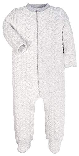 (Baby Boys Girls Warm Long-Sleeve Footed Pajamas Sleeper Rompers(Gray Striped Jacquard) (Gray Stripe, 3-6M))