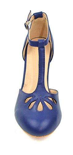 Mid Chloe Teardrop Dress Kimmy Pu T Out Pumps Heel Cut 36 amp; Navy Women's Chase Strap Xwv7E